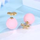 Alloy Korea Bows earring  Pink plated platinum NHTM0331Pinkplatedplatinum