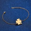 TitaniumStainless Steel Simple Flowers bracelet  Steel color NHHF0946Steelcolor