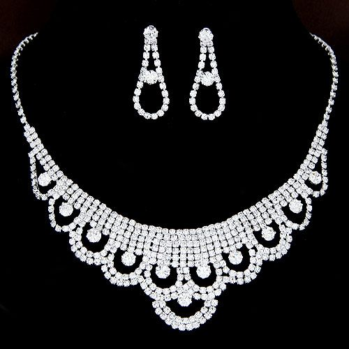 Korean flash rhinestone bridal necklace earring Sets Bridal Accessories Set NH223749