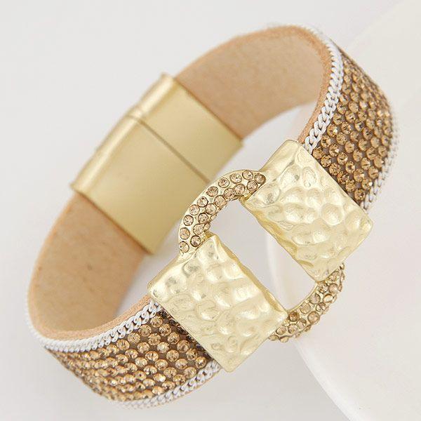 Occident simple metal buckle temperament flash rhinestone bracelet personalized magnet NHNSC1838