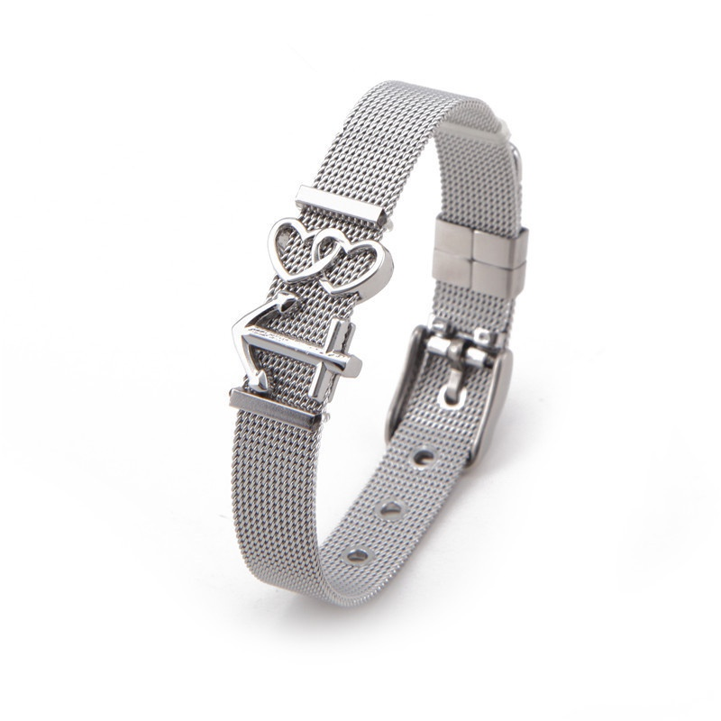 Titanium&Stainless Steel Simple Geometric bracelet  (Steel bracelet) NHSX0009-Steel-bracelet