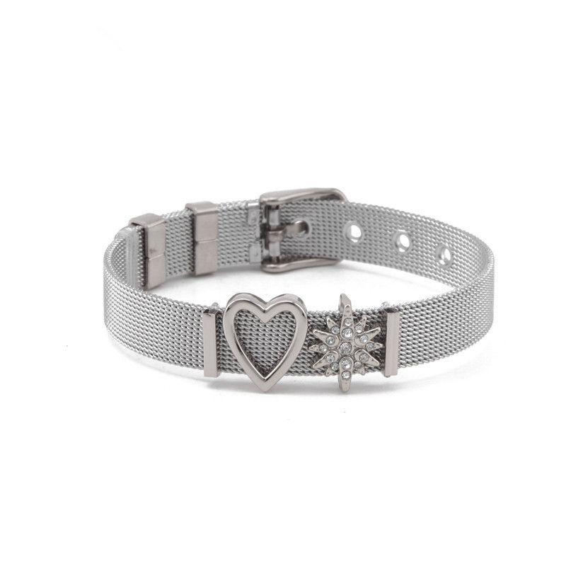 Titanium&Stainless Steel Simple Geometric bracelet  (Steel bracelet) NHSX0012-Steel-bracelet
