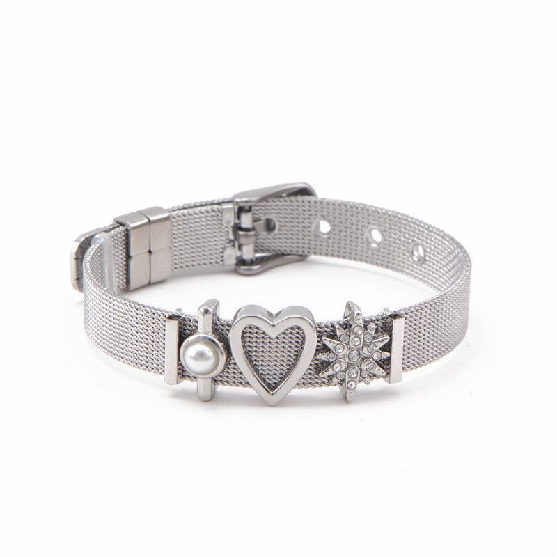 Titanium&Stainless Steel Simple Geometric bracelet  (Steel bracelet + steel accessories) NHSX0014-Steel-bracelet-steel-accessories