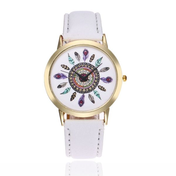 Leisure Ordinary glass mirror alloy watch (white) NHSY0225