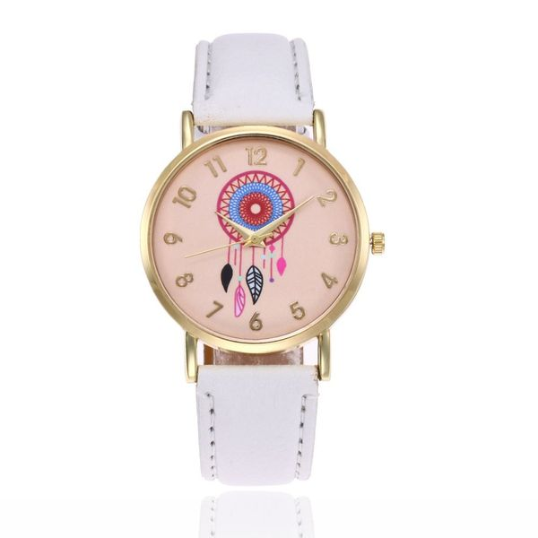 Leisure Ordinary glass mirror alloy watch (white) NHSY0316