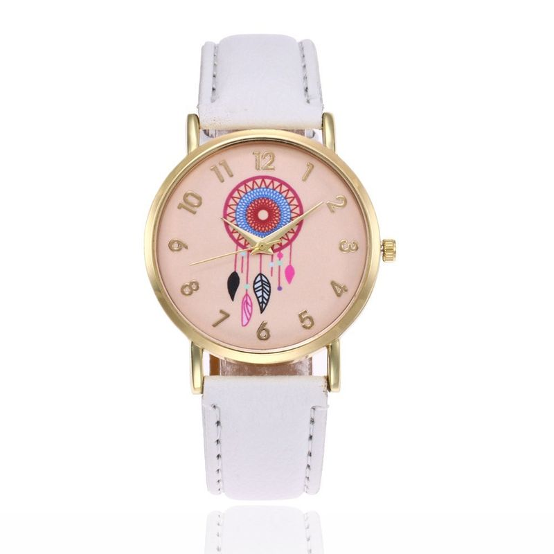 Leisure Ordinary glass mirror alloy watch white NHSY0316
