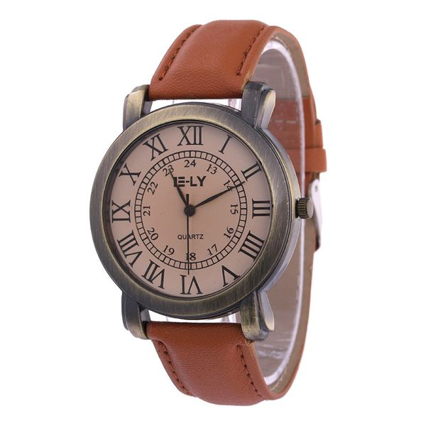 Leisure Ordinary glass mirror alloy watch (brown) NHSY0669
