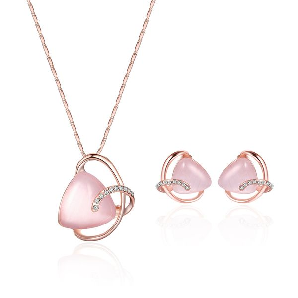 Occident and the United States alloy Rhinestone Necklace set (Rose alloy / 61172336)  NHXS1297