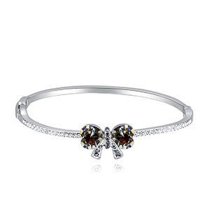 Austrian Imitated crystal Bracelet  Love Love Knot Black Rhinestone NHKSE28646