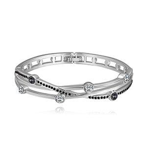 Imported Imitated crystal Bracelet - Time (quickly Platinum + Black Rhinestone) NHKSE28627
