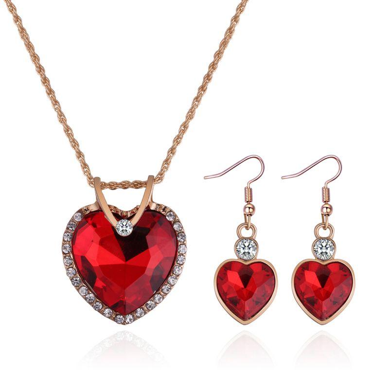 Korean creative fashion rhinestone love necklace set (red) NHNPS4539