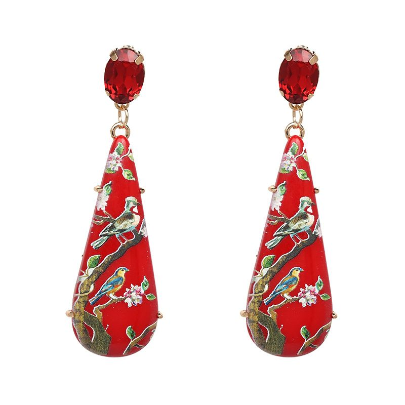 Plastic Fashion Geometric earring  (red) NHJJ5000-red