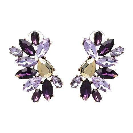 Imitated crystal&CZ Simple Geometric earring  (purple) NHJJ5002-purple's discount tags