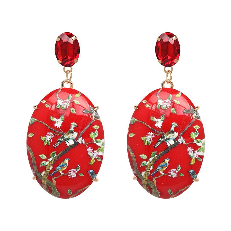 Plastic Fashion Geometric earring  red NHJJ5004red