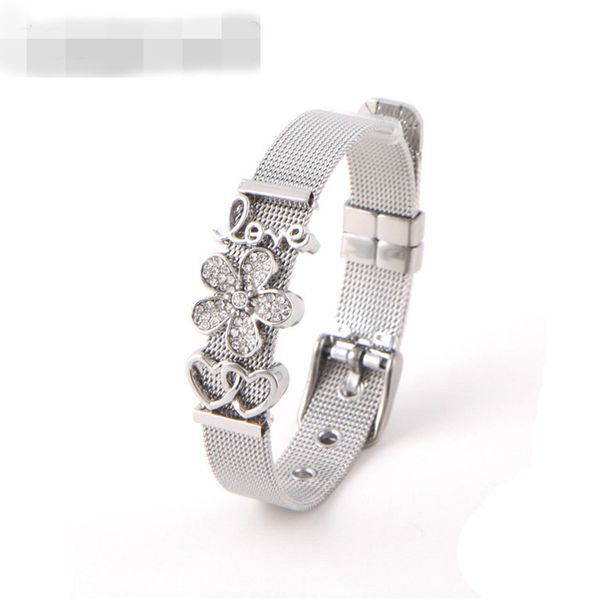 Titanium&Stainless Steel Simple Flowers bracelet  (Steel bracelet + white rhinestone) NHSX0275-Steel-bracelet-white-rhinestone