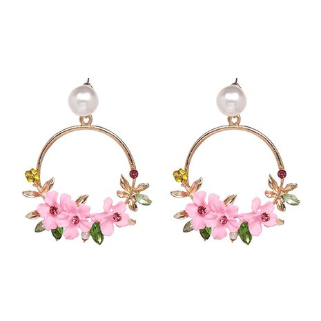 Alloy Vintage Flowers earring  (Pink) NHJJ5092-Pink's discount tags