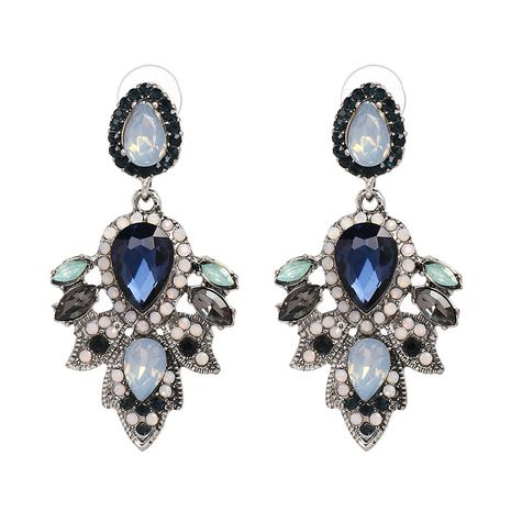 Imitated crystal&CZ Fashion Flowers earring  (Blue color) NHJJ5093-Blue-color's discount tags