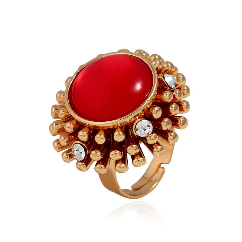 Alloy Korea Flowers Ring  (KC alloy red) NHKQ1878-KC-alloy-red