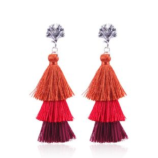 Plastic Fashion Tassel earring  (Red) NHNMD4695-Red's discount tags