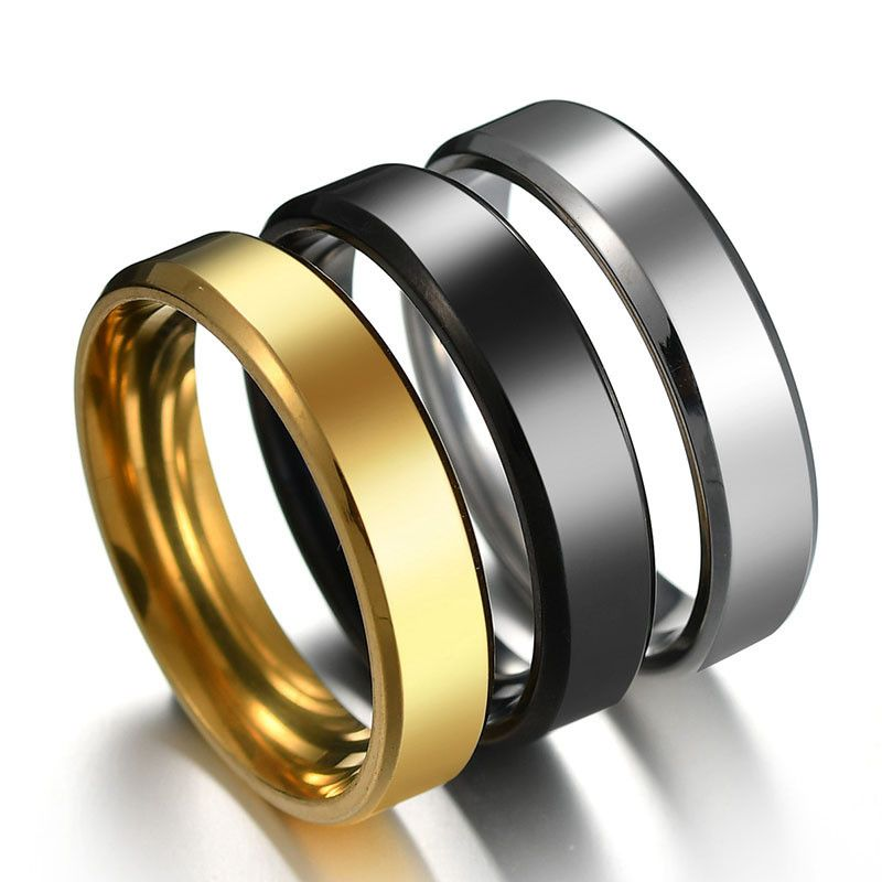 Titanium&Stainless Steel Simple Geometric Ring  (Black-5) NHHF0988-Black-5