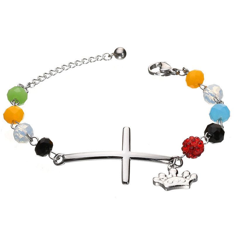Titanium&Stainless Steel Punk Geometric bracelet  (Steel color) NHHF1001-Steel-color