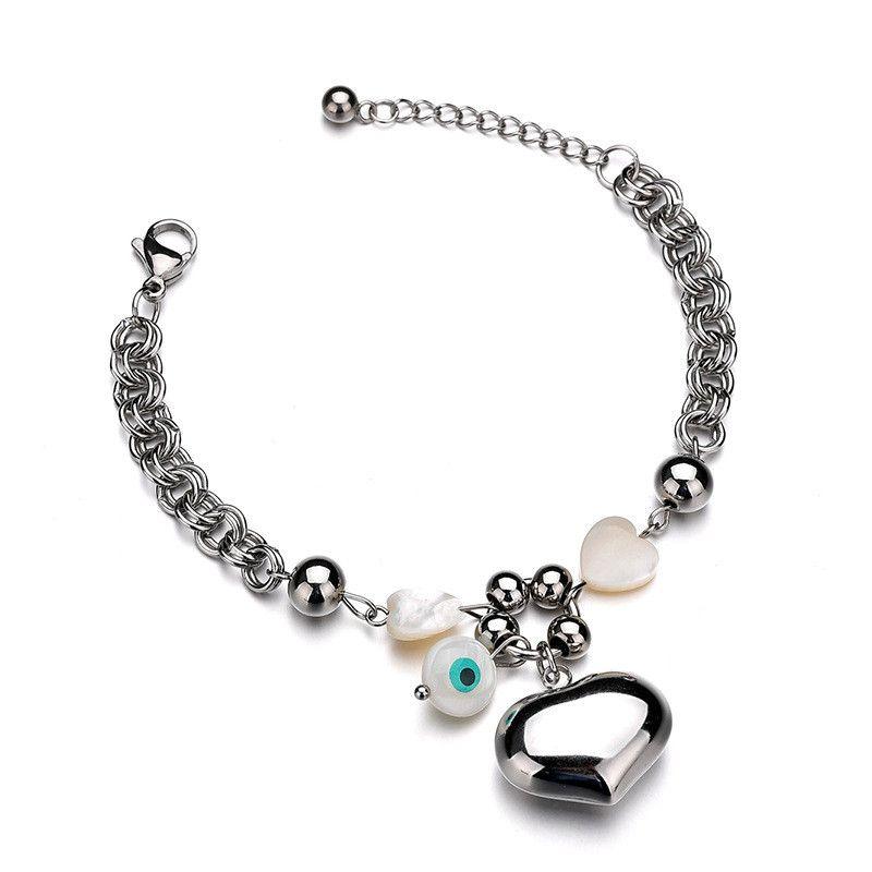 Titanium&Stainless Steel Simple Geometric bracelet  (Steel color) NHHF1010-Steel-color