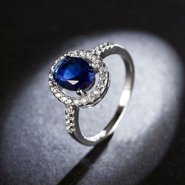 Alloy Fashion Geometric Ring  (White alloy blue stone-16mm) NHLJ4085-White-alloy-blue-stone-16mm