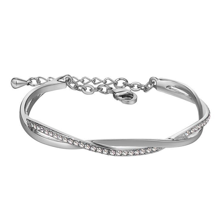 Imported Imitated crystal Bracelet  Love Confession Platinum + White NHKSE28997