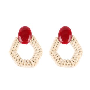 Plastic Bohemia Geometric earring  (red) NHJQ10680-red's discount tags