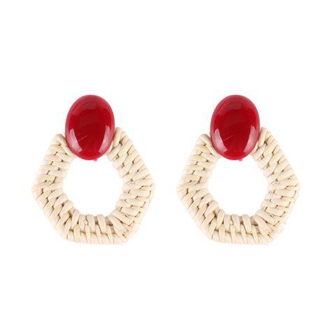Plastic Bohemia Geometric earring  (red) NHJQ10680-red's discount tags