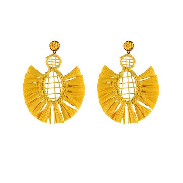 Plastic Simple Tassel earring  (yellow) NHJQ10681-yellow