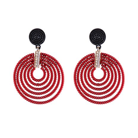 Plastic Vintage Geometric earring  (red) NHJQ10684-red's discount tags