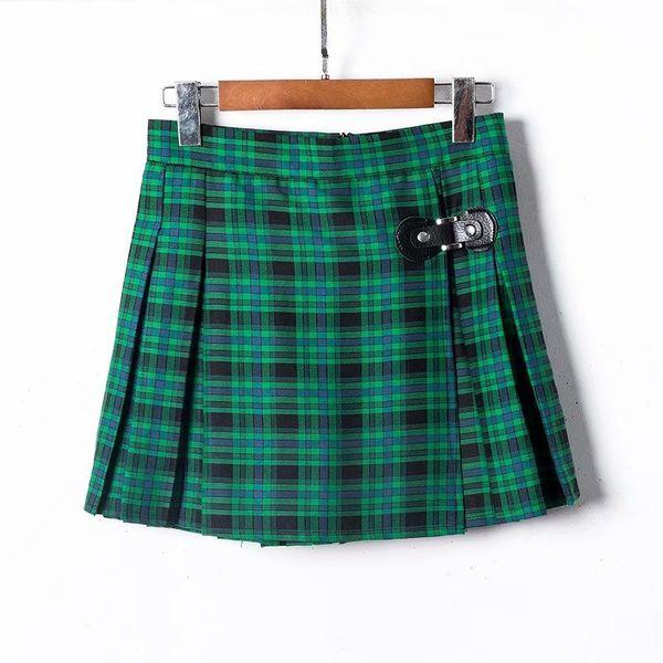 Polyester Fashion  pants  (Green black grid - XS) NHAM5217-Green-black-grid-XS