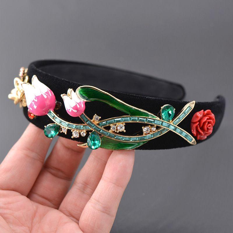 Alloy Vintage Flowers Hair accessories  (black) NHNT0630-black