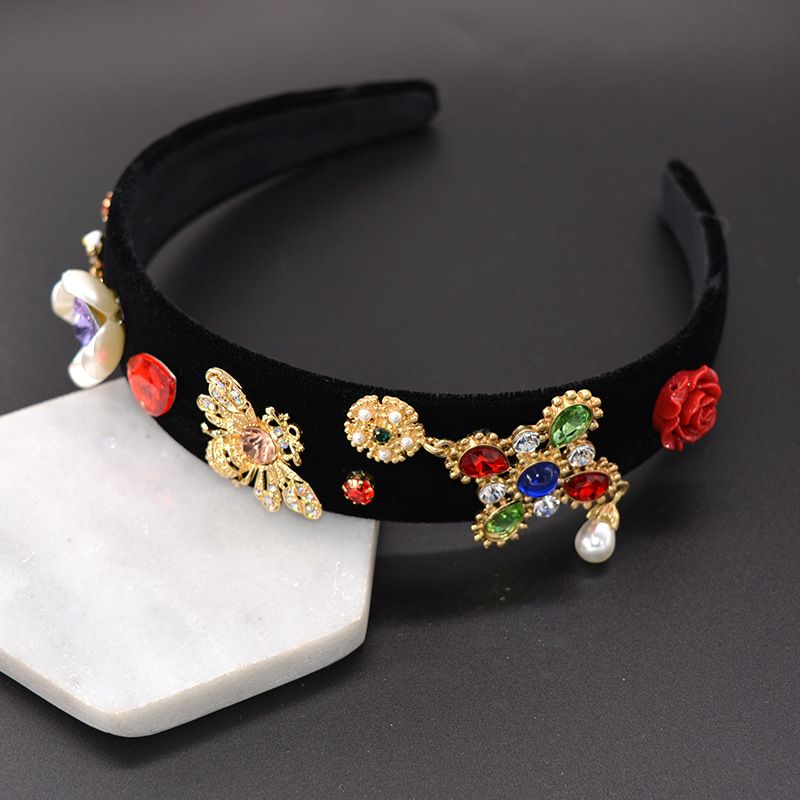Alloy Vintage Flowers Hair accessories  (black) NHNT0631-black
