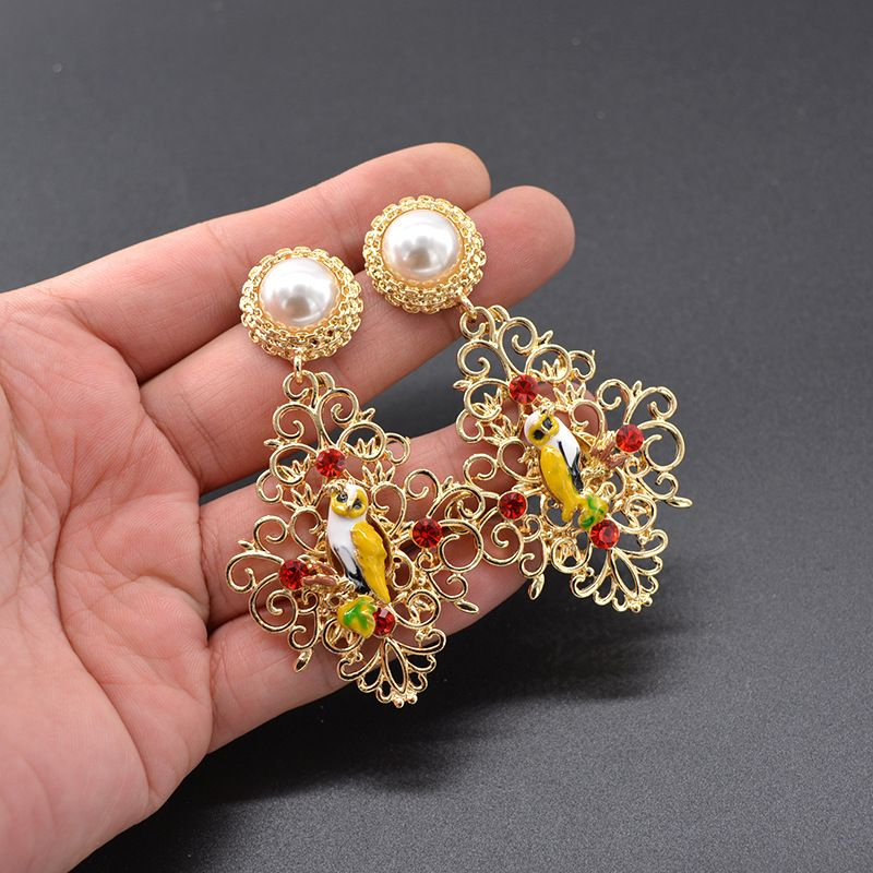 Alloy Vintage Flowers earring  (Alloy) NHNT0636-Alloy