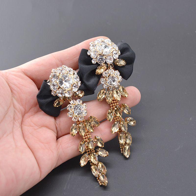 Alloy Vintage Flowers earring  black NHNT0637black
