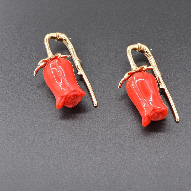 Alloy Vintage Flowers earring  (red) NHNT0641-red