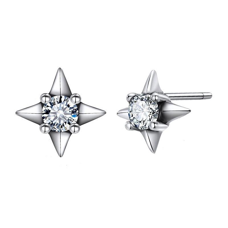 Alloy Korea Geometric earring  (Alloy + white) NHTF0756-Alloy-white