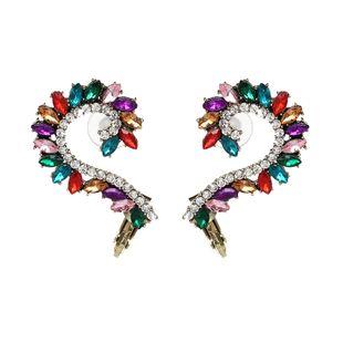 Imitated crystal&CZ Fashion Geometric earring  (Dark color) NHJJ5097-Dark-color's discount tags