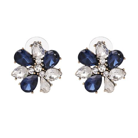 Imitated crystal&CZ Fashion Flowers earring  (blue) NHJJ5114-blue's discount tags