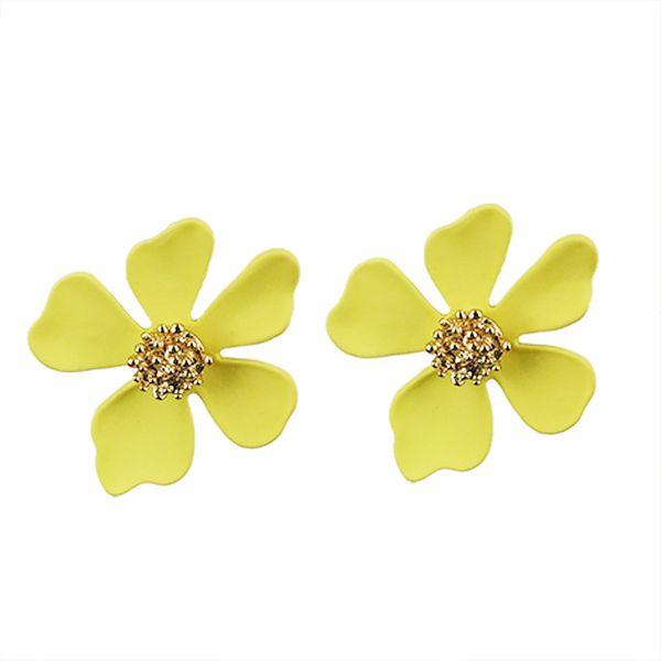 Alloy Simple Flowers earring  (KC alloyen yellow) NHKQ1911-KC-alloyen-yellow