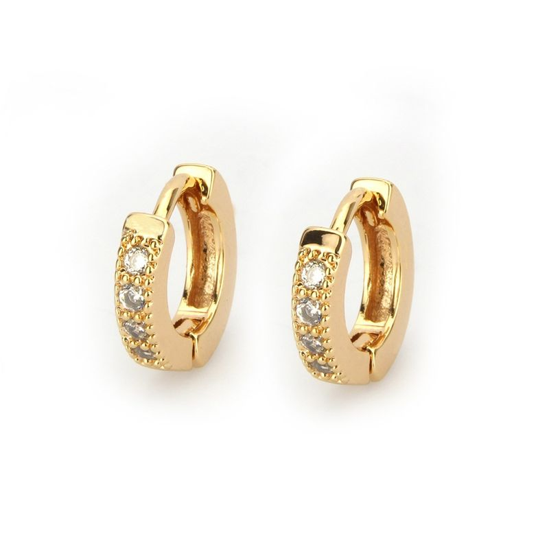 Copper Simple Geometric earring  Alloyplated white zircon NHBP0089Alloyplatedwhitezircon