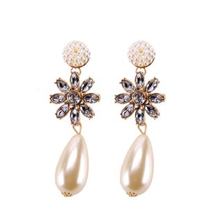 Imitated crystal&CZ Fashion Flowers earring  (white) NHJQ10715-white's discount tags