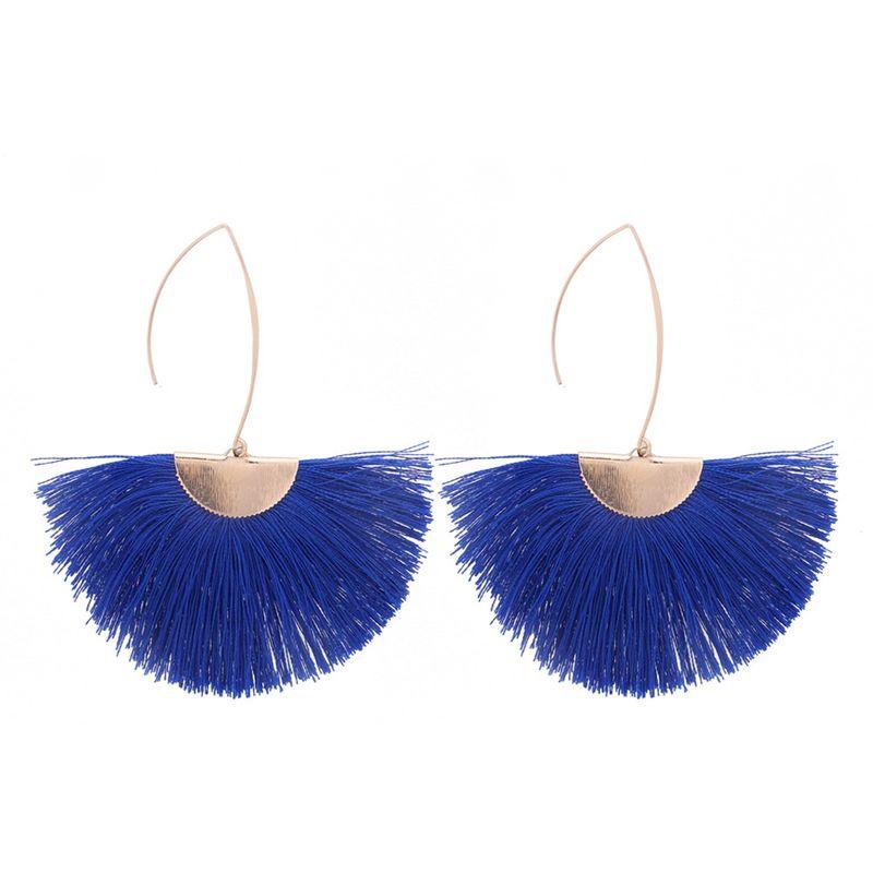 European and American creative personality temperament silk earrings (blue) NHNPS4914