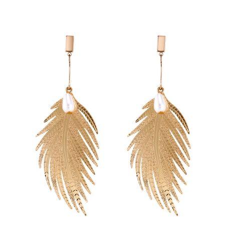 Boucles d'oreilles plumes créatives rétro européennes et américaines (alliage imitation champagne) NHNPS4937's discount tags