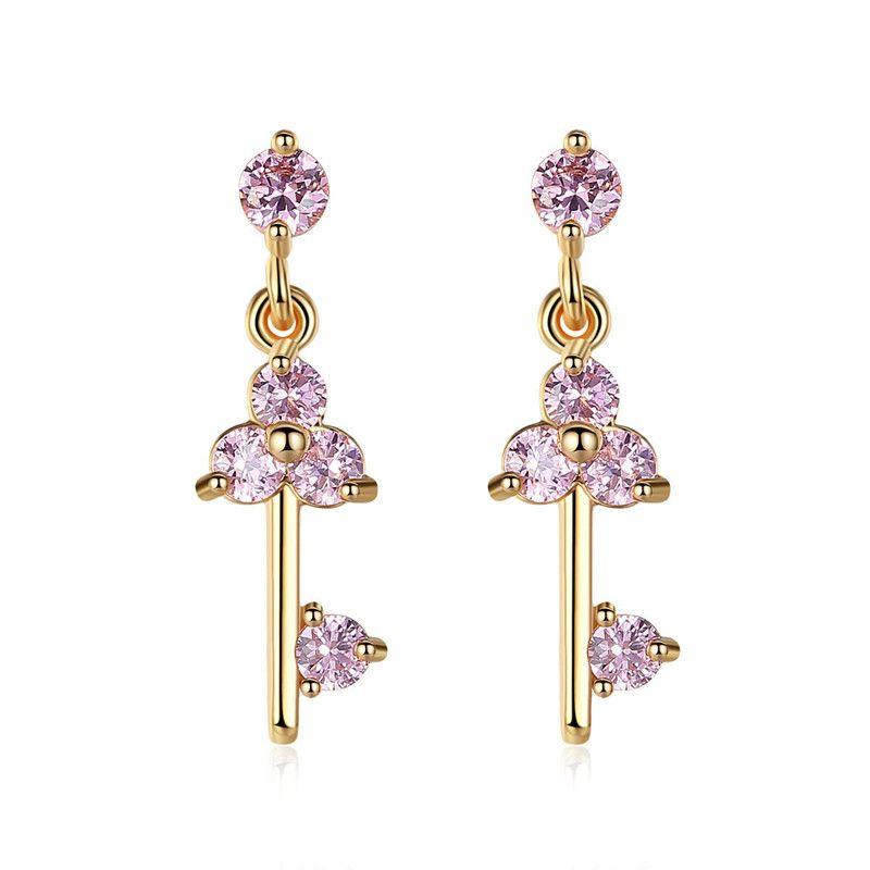 Copper Fashion Sweetheart earring  (Zirconium-plated champagne alloy) NHTM0359-Zirconium-plated-champagne-alloy