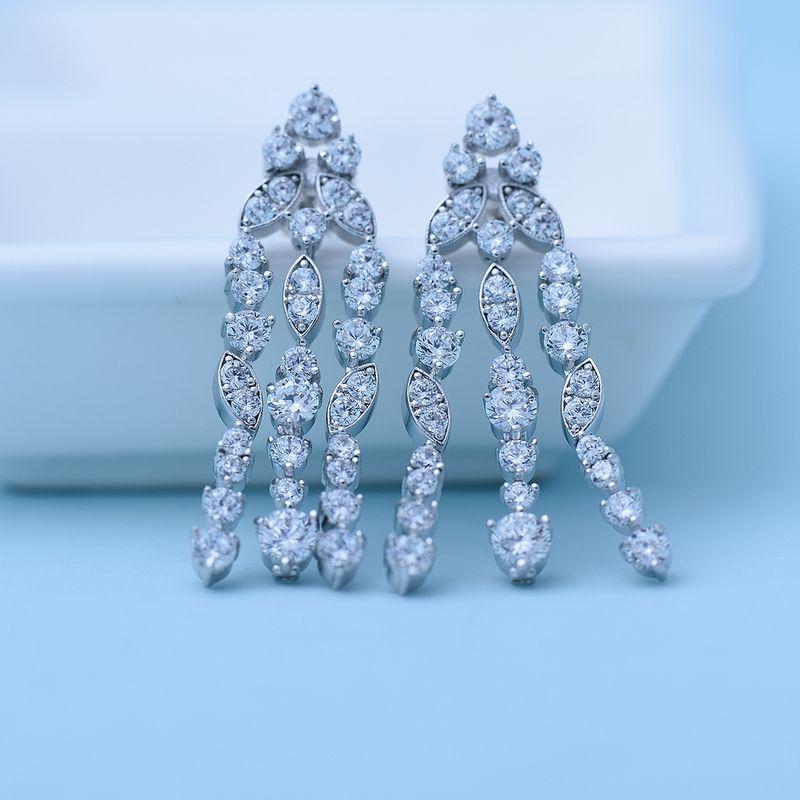 Alloy Fashion Geometric earring  White zirconium white alloy NHTM0381Whitezirconiumwhitealloy