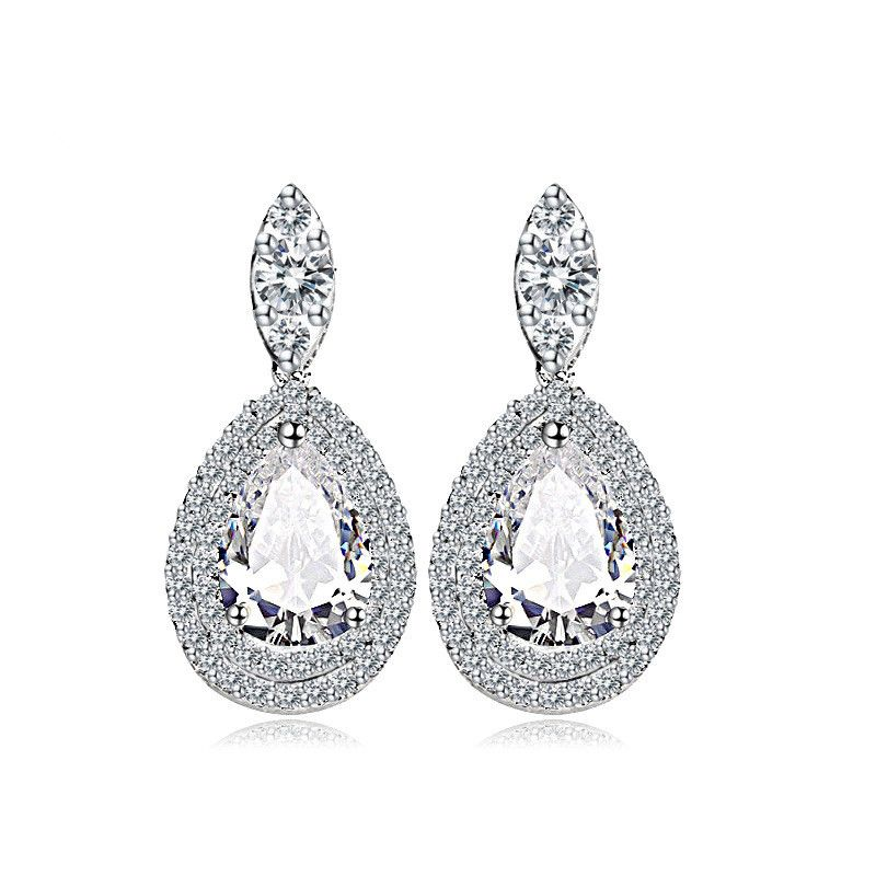Imitated crystal&CZ Fashion Geometric earring  (white) NHTM0400-white