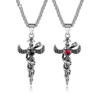 Titanium&Stainless Steel Fashion Geometric necklace  (Black rhinestone + matching chain) NHOP2962-Black-rhinestone-matching-chain's discount tags